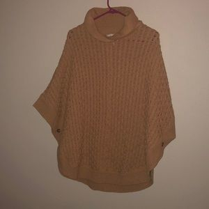 Talbots Caramel cable knit poncho sweater Sz small